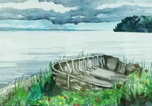Boat at Rest by Sharon L Graham, Watercolor, Sold