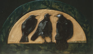 Crows- clay wall piece by Sharon L Graham, Sold